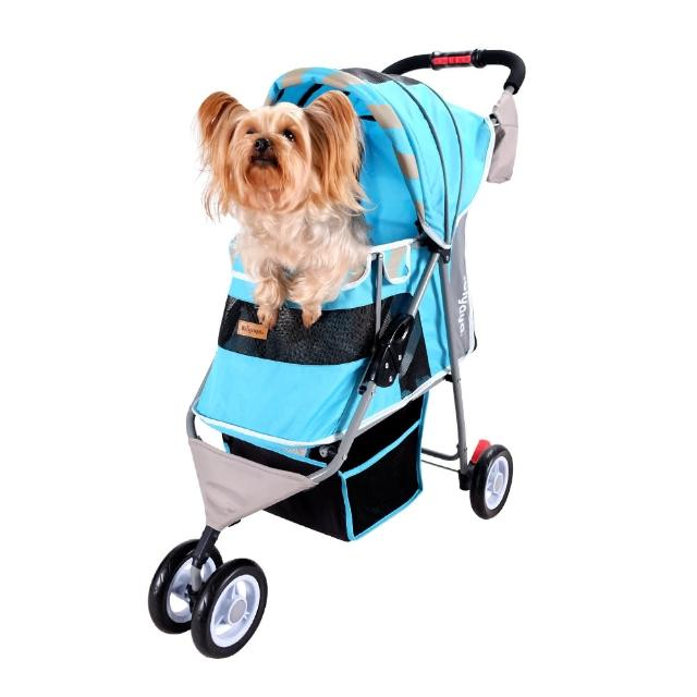 【IBIYAYA 依比呀呀】FS1101S 繽紛午茶寵物三輪車-慕斯藍(加贈 寵物按摩除毛手套)