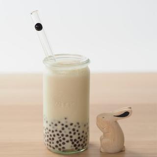 【美國strawesome】手工玻璃吸管/寬口直式(經典黑)