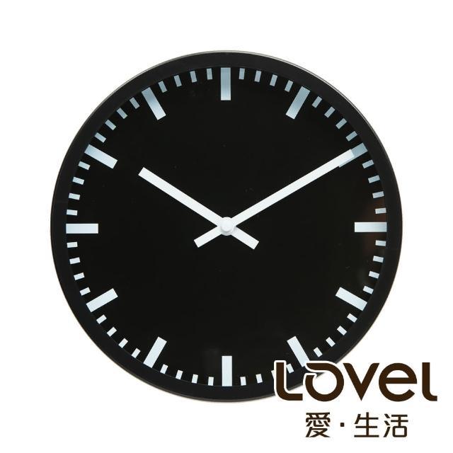 【LOVEL】25cm摩登膠框靜音時鐘-深黑里程(P2507W-LB)