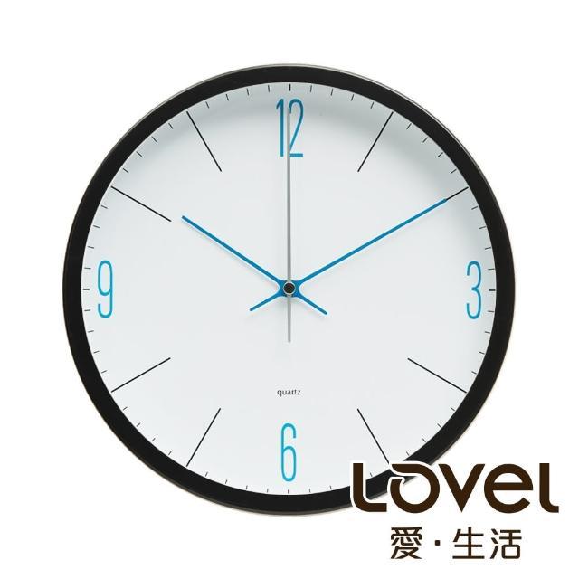 【LOVEL】25cm潔淨藍白膠框靜音時鐘-黑(P2501BL-B)