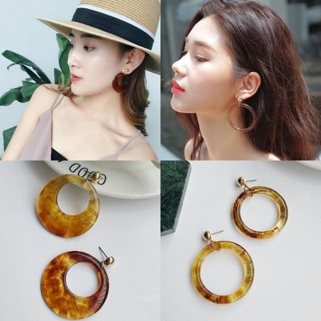 【梨花HaNA】韓國復古年代琥珀亞克力金珠耳環