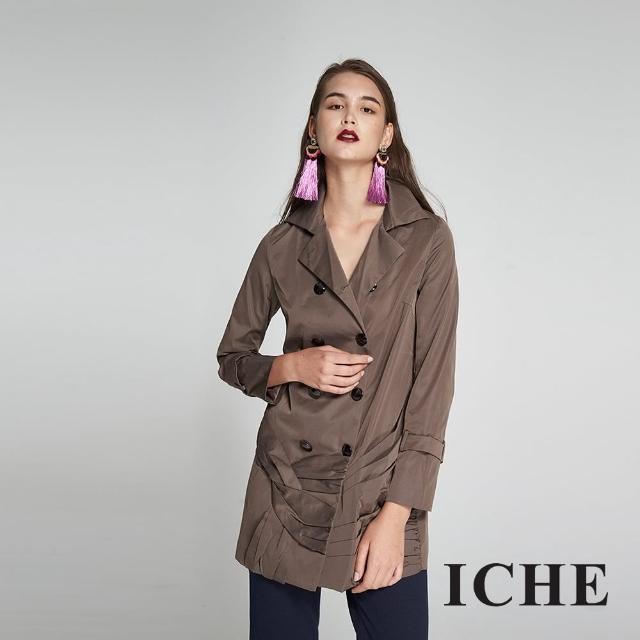 【ICHE 衣哲】設計造型款防風雙排釦長版風衣外套-兩色-咖