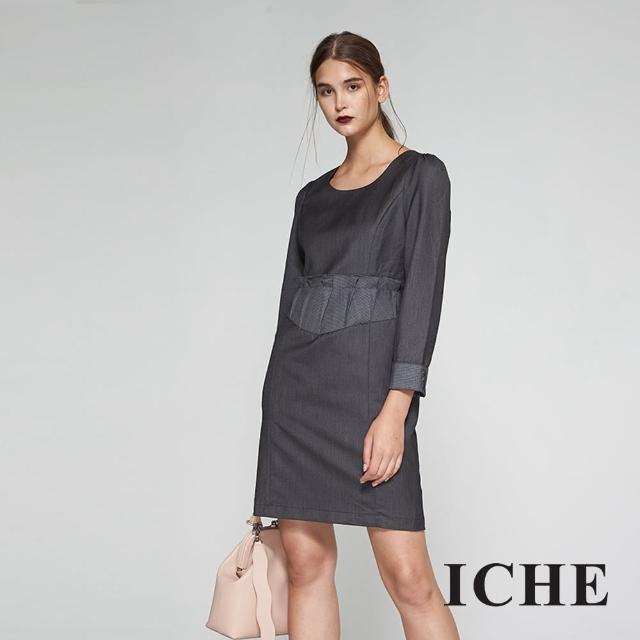 【ICHE 衣哲】英式荷葉格紋印花拼接長袖造型洋裝-黑