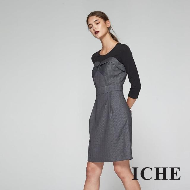 【ICHE 衣哲】英式千鳥格紋印花馬甲式拼接造型洋裝-灰