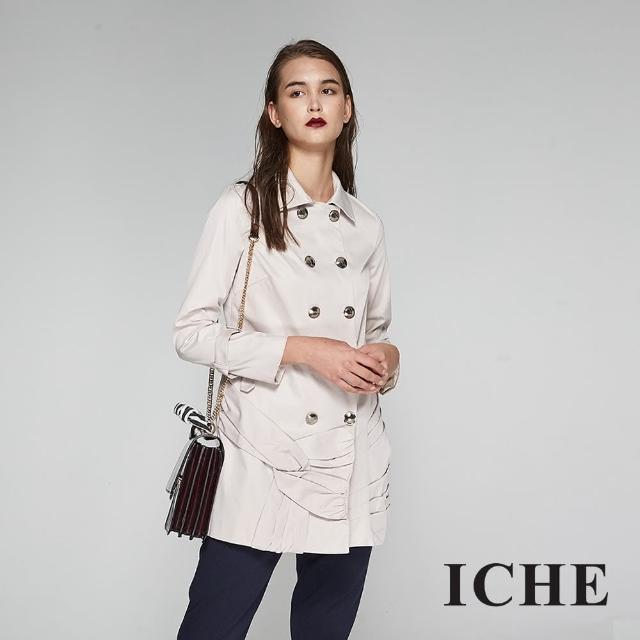 【ICHE 衣哲】設計造型款防風雙排釦長版風衣外套-兩色-杏