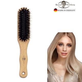 【德國BRAUN WETTBURG 珀薇】德國製 好好握長形豚鬃纖維氣墊梳 柔軟梳毛隨身攜