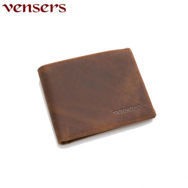 【Vensers】小牛皮潮流个性皮夹(NB600401疯马皮短夹)