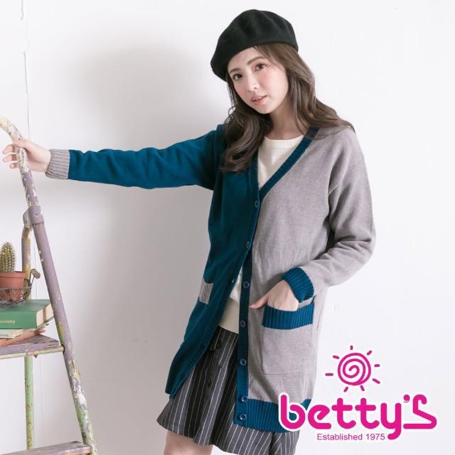 【betty's 貝蒂思】撞色拼接長版針織外套(綠色)