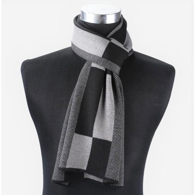 男士針織圍巾 羊絨圍巾(灰黑長格斜紋)