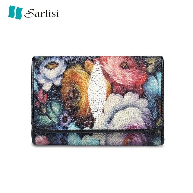 【Sarlisi】輕奢臻品珍珠魚皮三折皮夾(珍珠魚皮-玫瑰)