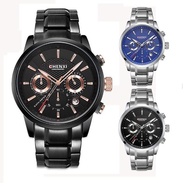 【美國熊】極致工藝 三眼計時跑秒 日期顯示 賽車風格 不鏽鋼錶帶腕錶(KAS-929)