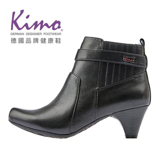 【Kimo】氣質繫帶舒適柔軟羊皮短靴跟鞋(暗夜黑K17WF032663)