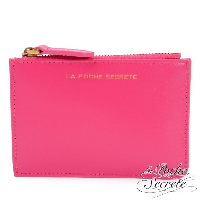 【La Poche Secrete】简约真皮实用卡夹零钱包(甜美桃)