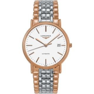【LONGINES 浪琴】Presence 經典永恆機械錶-白x雙色/38mm(L49211127)