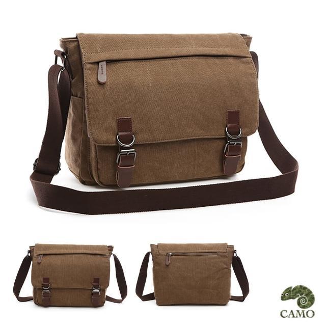 【CAMO】韓版帆布14寸側背包電腦包(咖啡色)