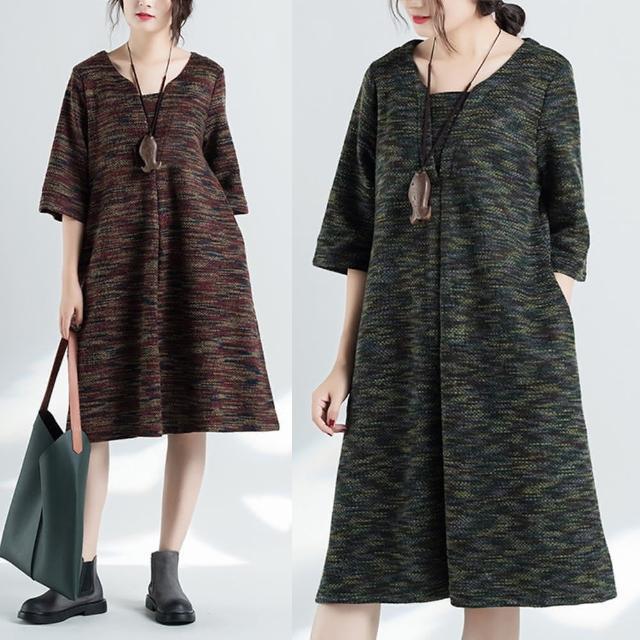 【A.Cheter】復古多彩厚織寬鬆七分袖洋裝100768(2色)