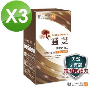 【順天本草】靈芝子實體膠囊3盒組(60顆/盒X3盒)