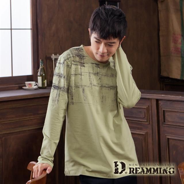 【Dreamming】抽象圖格萊卡彈力長袖圓領T(共三色)