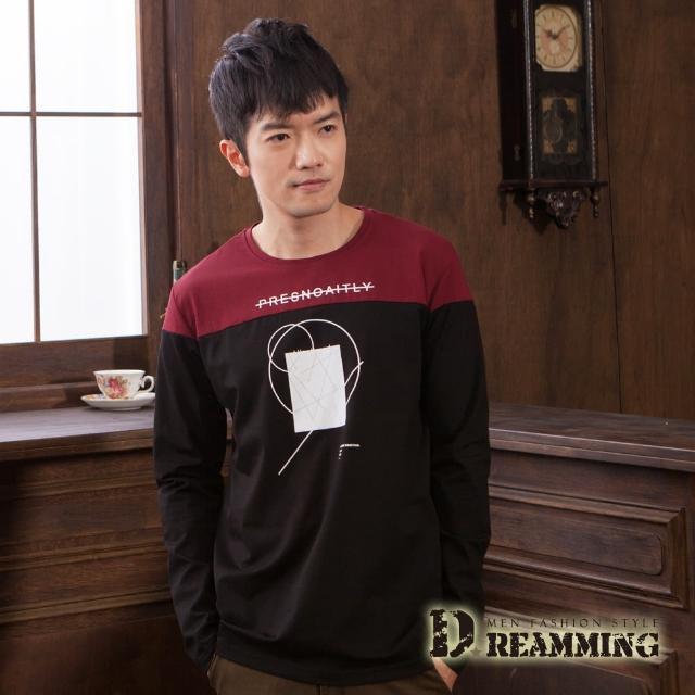 【Dreamming】雙色幾何萊卡彈力長袖圓領T(共二色)