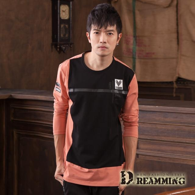 【Dreamming】拼色圖標萊卡彈力長袖圓領T(共二色)