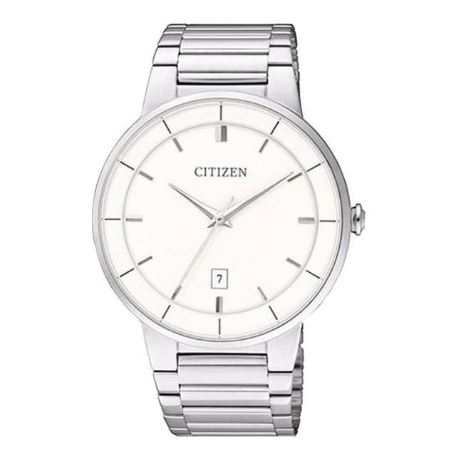 【CITIZEN 星辰】石英男錶 不銹鋼錶帶 白 防水(BI5010-59A)