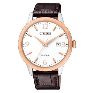 【CITIZEN 星辰】送禮首選 指針男錶 小牛皮錶帶 白 光動能 藍寶石玻璃鏡面(BM7304-16A)