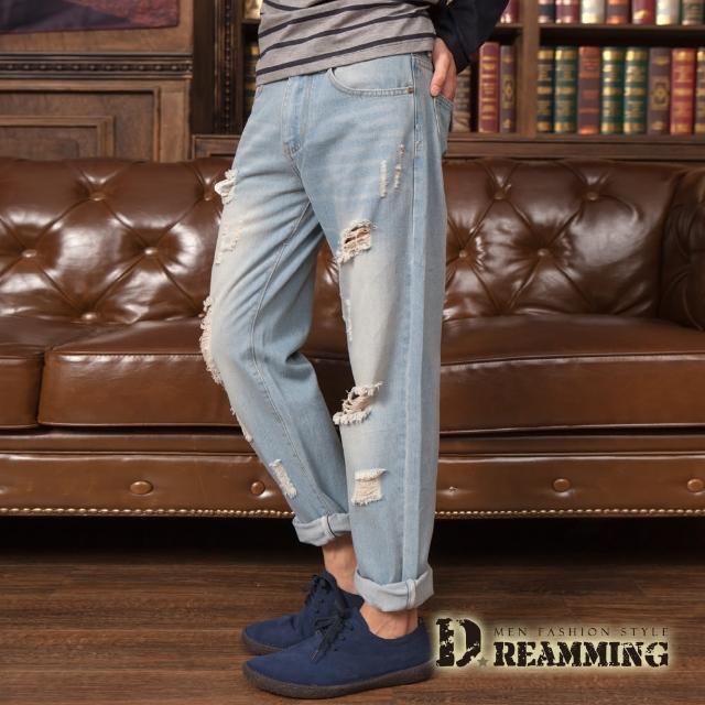 【Dreamming】人氣水洗個性破壞抽鬚單寧長褲