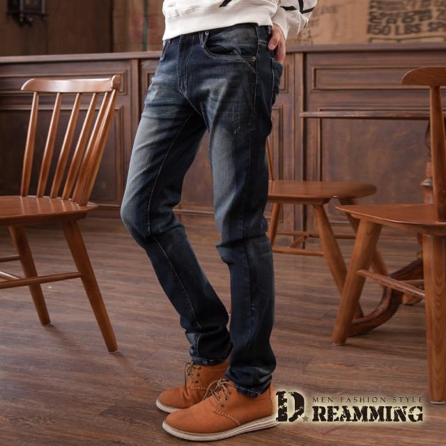 【Dreamming】日韓刷色皮標伸縮小直筒牛仔褲
