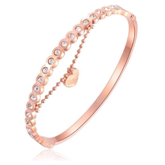 【I-Shine】愛在晶鑽-西德鋼-垂墜愛心鑲鑽玫瑰金鈦鋼手環(玫瑰金)
