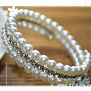 【伊飾童話】任選-珍珠夾鑽*彈性環繞珍珠手環