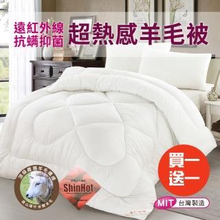 【三浦太郎】遠紅外線抗蹣抑菌超熱感羊毛被/6*7呎 2.1KG/買一送一(四季被/發熱被/棉被)