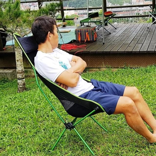 【May Shop】頭枕折疊椅 釣魚椅 野營沙灘椅 月亮椅(含手提包)