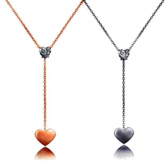 【I-Shine】心心念念-西德鋼-晶鑽垂墜愛心鈦鋼項鍊(2色)