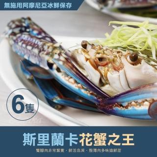 【優鮮配】巨無霸斯里蘭卡公花蟹6隻(400g/隻)