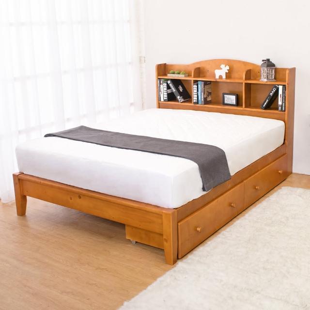 【Bernice】克查5尺實木書架雙人床架-抽屜型