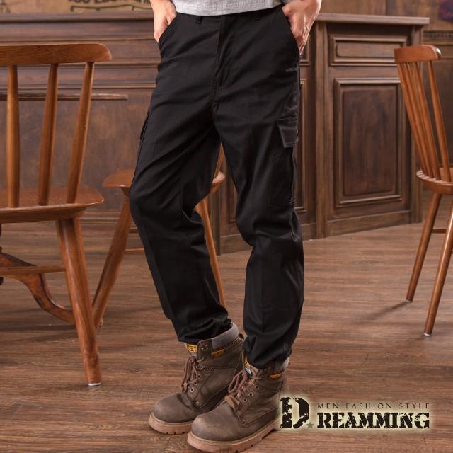 【Dreamming】美式布標百搭伸縮休閒工作長褲(黑色)