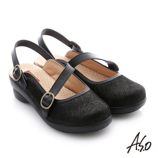 【A.S.O 阿瘦集團】紓壓氣墊 全真皮織紋圓釦帶後空休閒鞋(黑)