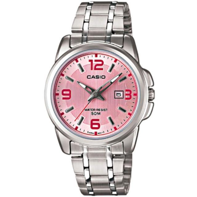【CASIO 卡西歐】簡約知性女腕錶-粉面(LTP-1314D-5A)