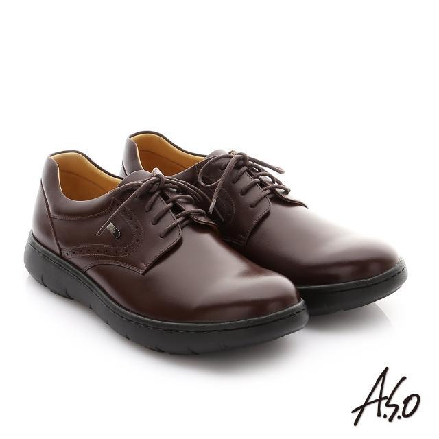 【A.S.O 阿瘦集團】職場通勤 超能耐油感牛皮綁帶紳士皮鞋(咖啡)