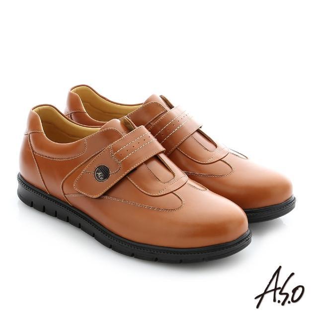 【A.S.O 阿瘦集團】職場通勤 壓紋牛皮魔鬼氈氣墊紳士皮鞋(茶)