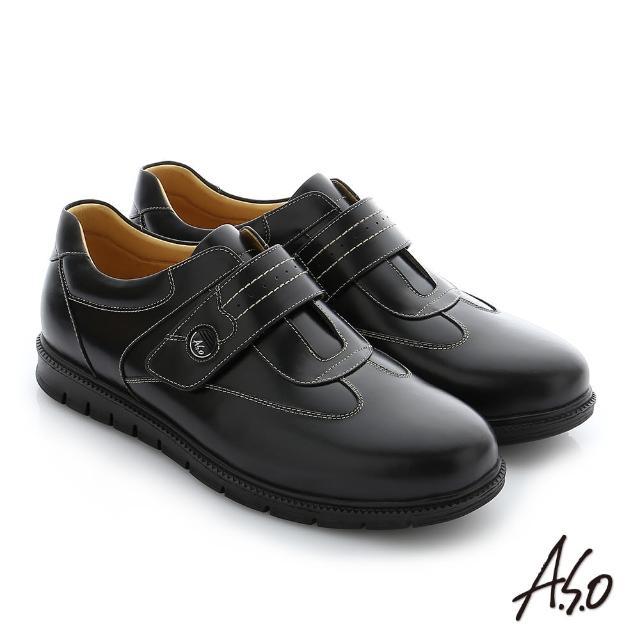 【A.S.O 阿瘦集團】職場通勤 壓紋牛皮魔鬼氈氣墊紳士皮鞋(黑)