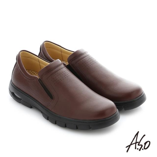 【A.S.O 阿瘦集團】挺力氣墊 真皮直套式鬆緊帶機能休閒鞋(咖啡)