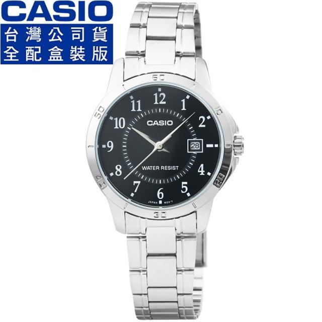 【CASIO 卡西歐】卡西歐簡約石英鋼帶女錶-黑(LTP-V004D-1B)