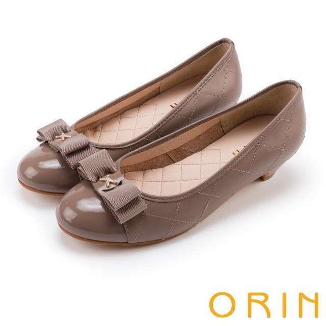 【ORIN】優雅甜美系 蝴蝶結飾釦嚴選壓紋牛皮低跟鞋(可可)
