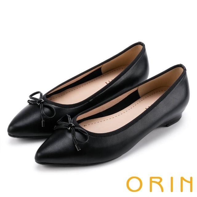 【ORIN】典雅輕熟OL 牛皮百搭尖頭低跟鞋(黑色)