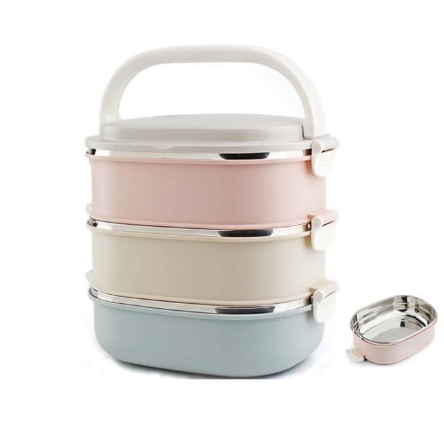 【PUSH!】餐具用品不銹鋼保溫飯盒防燙3色組合3層便當盒(E91)