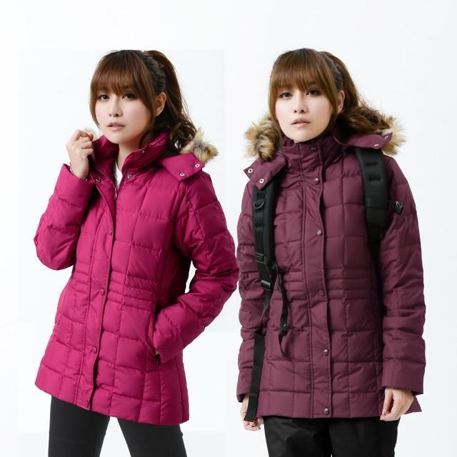 【遊遍天下】女款JIS90%羽絨防風防潑水方格保暖羽絨外套 暗紅 贈收納袋(M-2L)