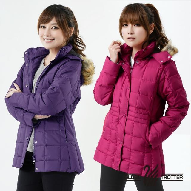 【遊遍天下】女款JIS90%羽絨防風防潑水方格保暖羽絨外套 紫色 贈收納袋(M-2L)