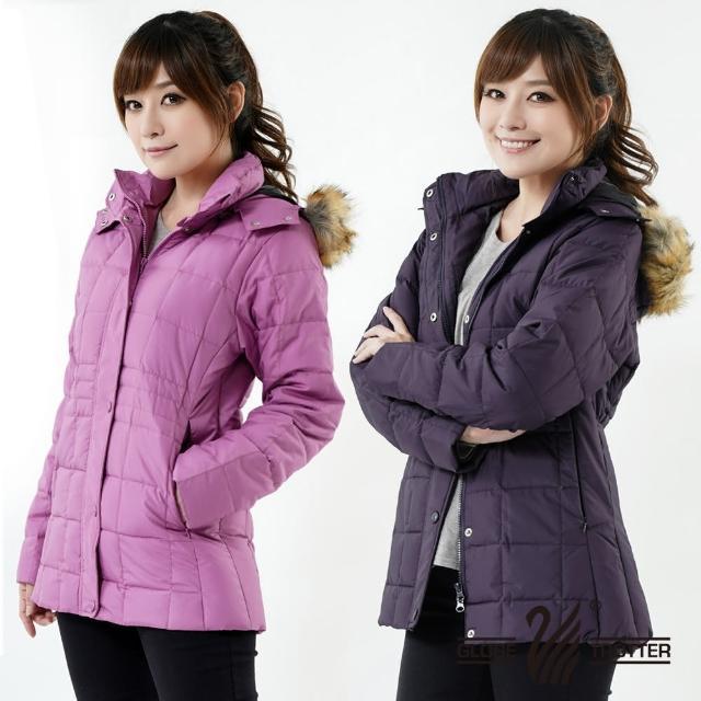 【遊遍天下】女款JIS90%羽絨防風防潑水方格保暖羽絨外套 暗紫 贈收納袋(M-2L)