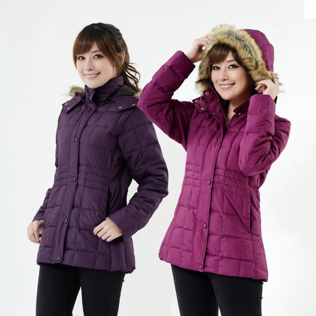【遊遍天下】女款JIS90%羽絨防風防潑水方格保暖羽絨外套 深紫 贈收納袋(M-2L)
